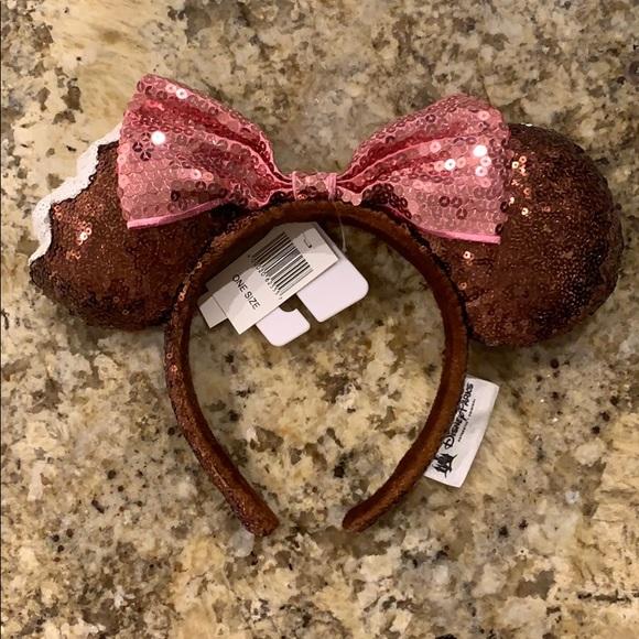 Disney Brown Sequin Pink Bow Mickey Ice Cream Bar Minnie Ears Headband NWT